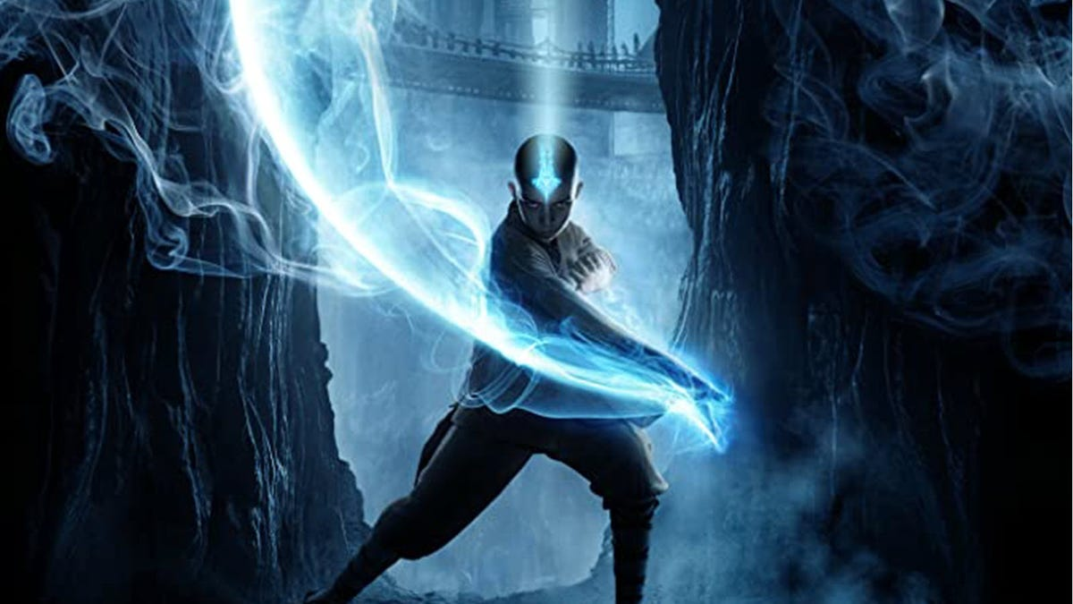 Aang, bending some blue air with a glowy arrow on his head.
