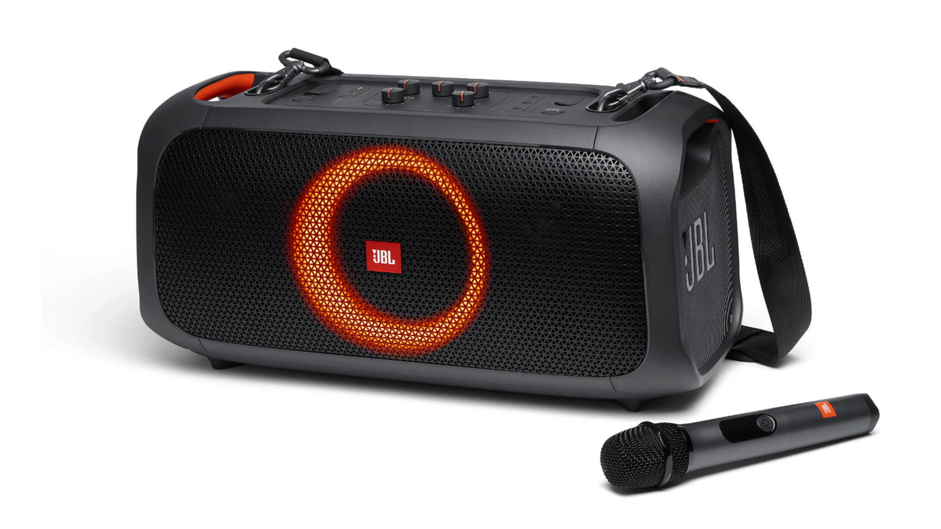 The new JBL PartyBox On-The-Go speaker with its wireless microphone.