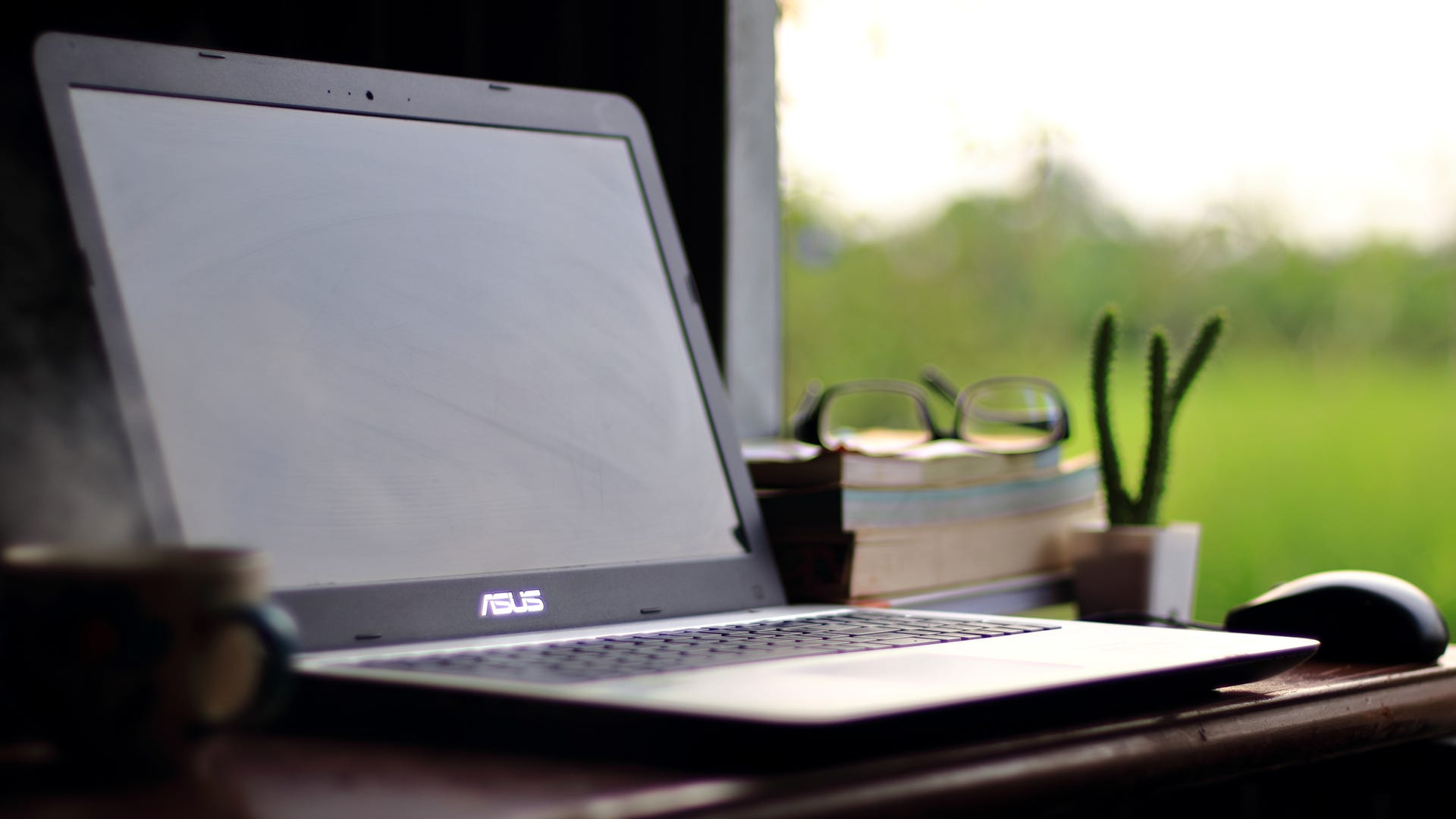 Asus latop on desk