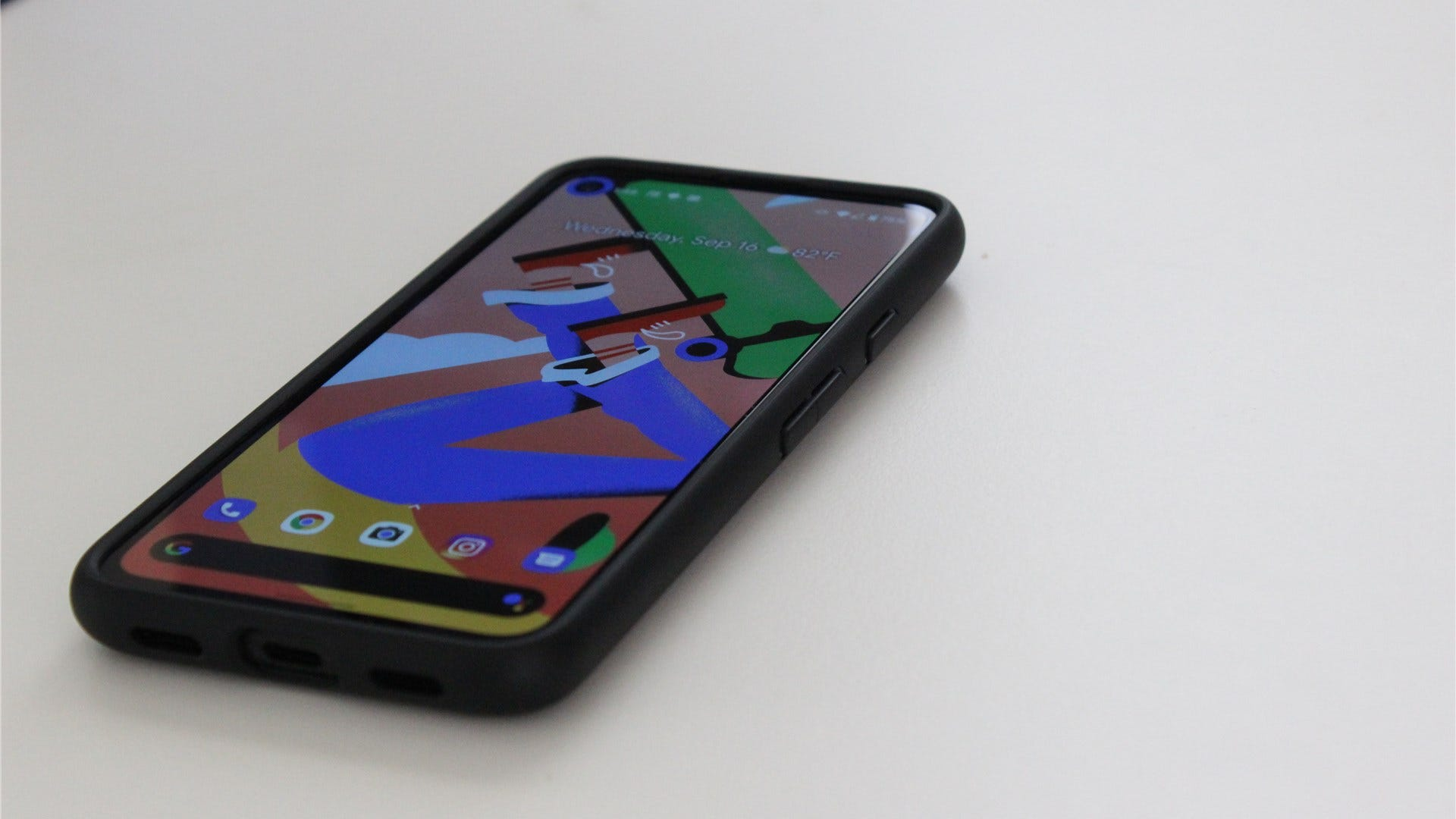The Pixel 4a on a white desk