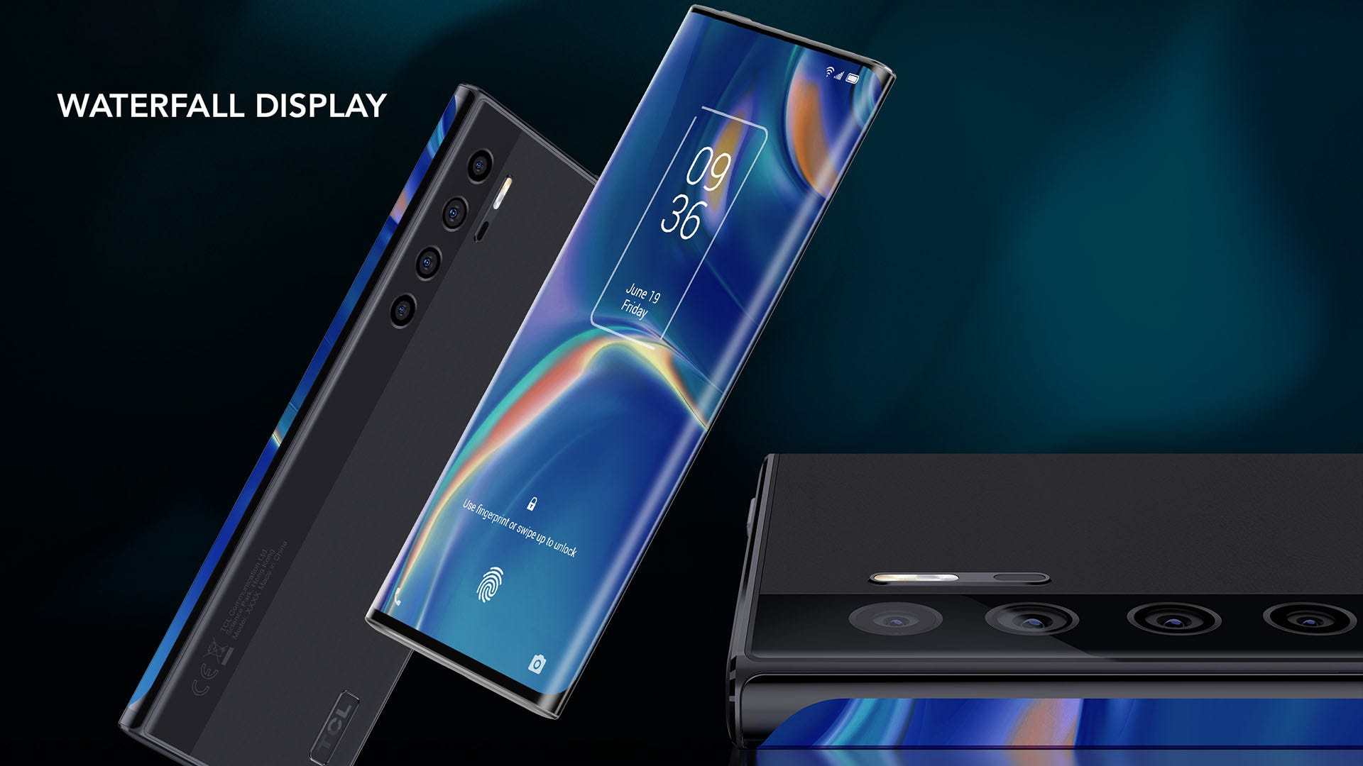 A smartphone with a screen that curves nearly to the back of the phone.