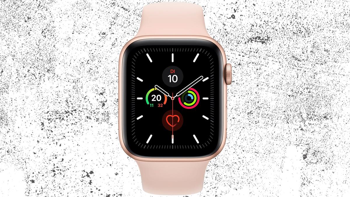 Apple Watch Series 5 against a grunge white background texture