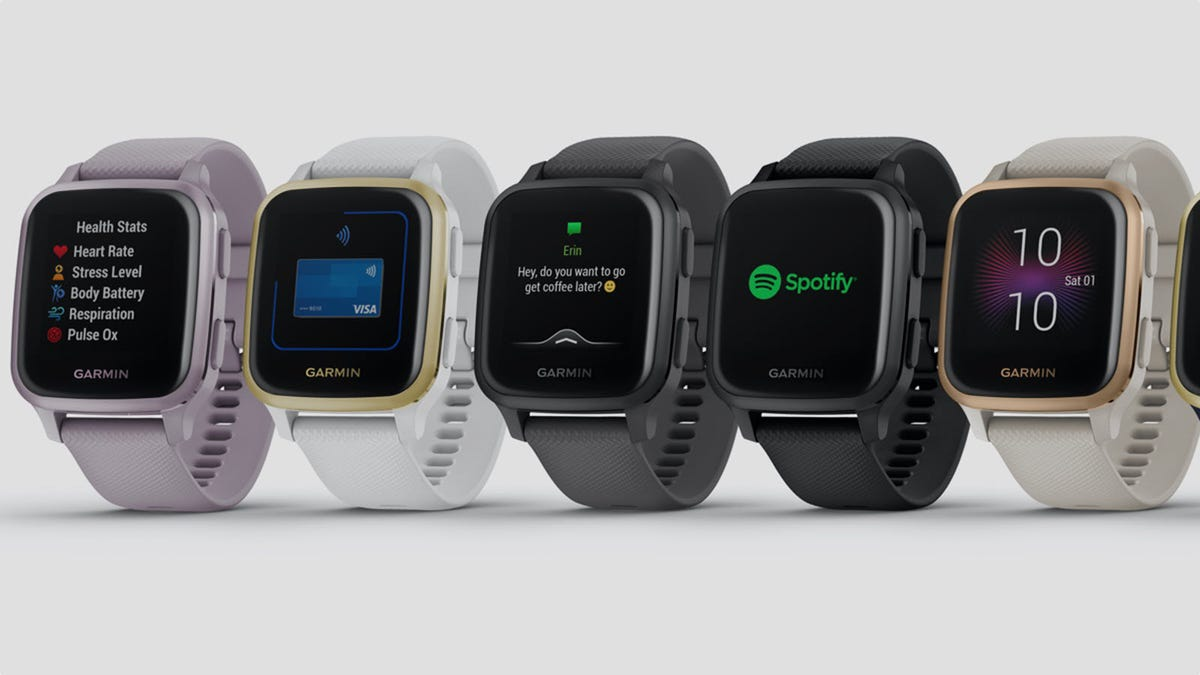A row of Garmin Venu Sq smartwatches in various colors.