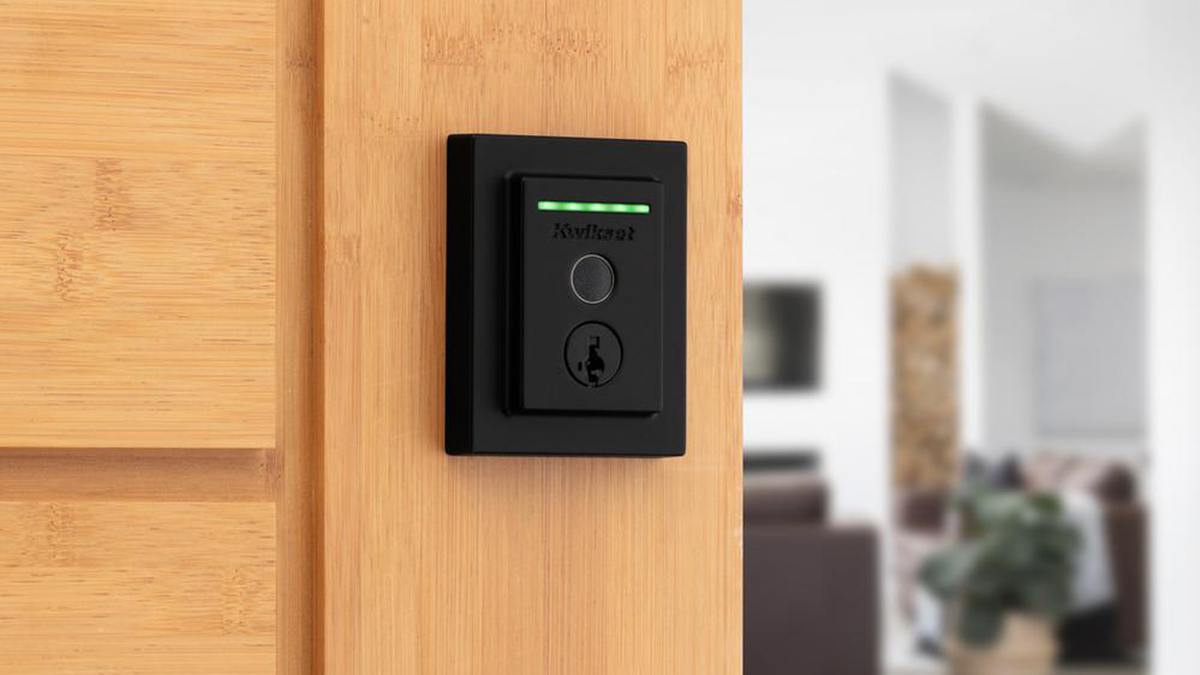 Kwikset Halo Touch mounted on wooden door in a modern home