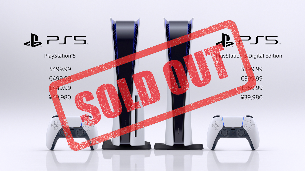 A photo of the PS5 with a big SOLD OUT sticker.