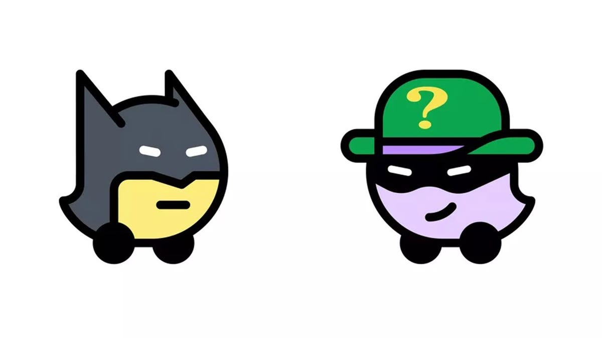 Batman and Riddler dressed up as Waze icons