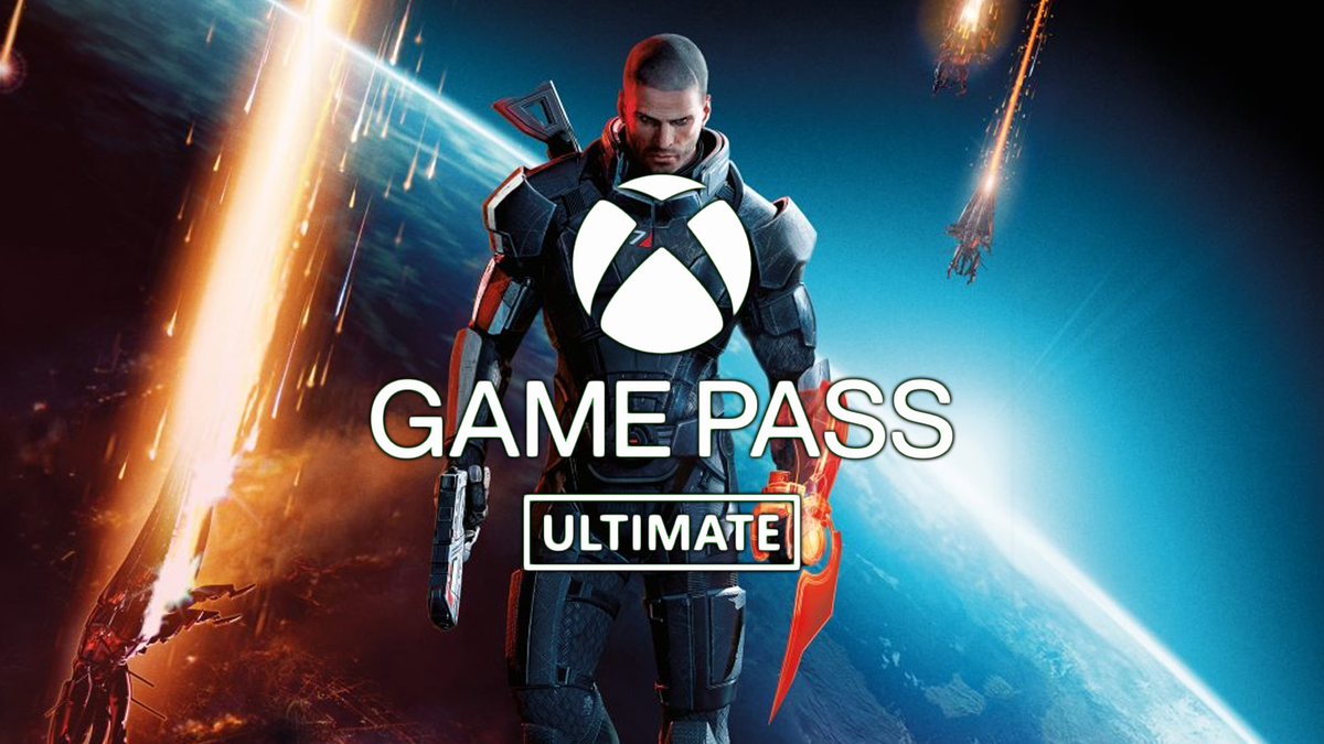 A photo from Mass Effect with the Game Pass Ultimate logo.