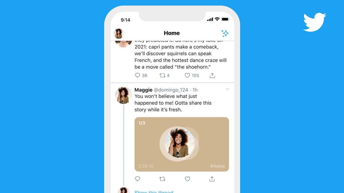 An illustration of Twitter's Voice Tweet feature.