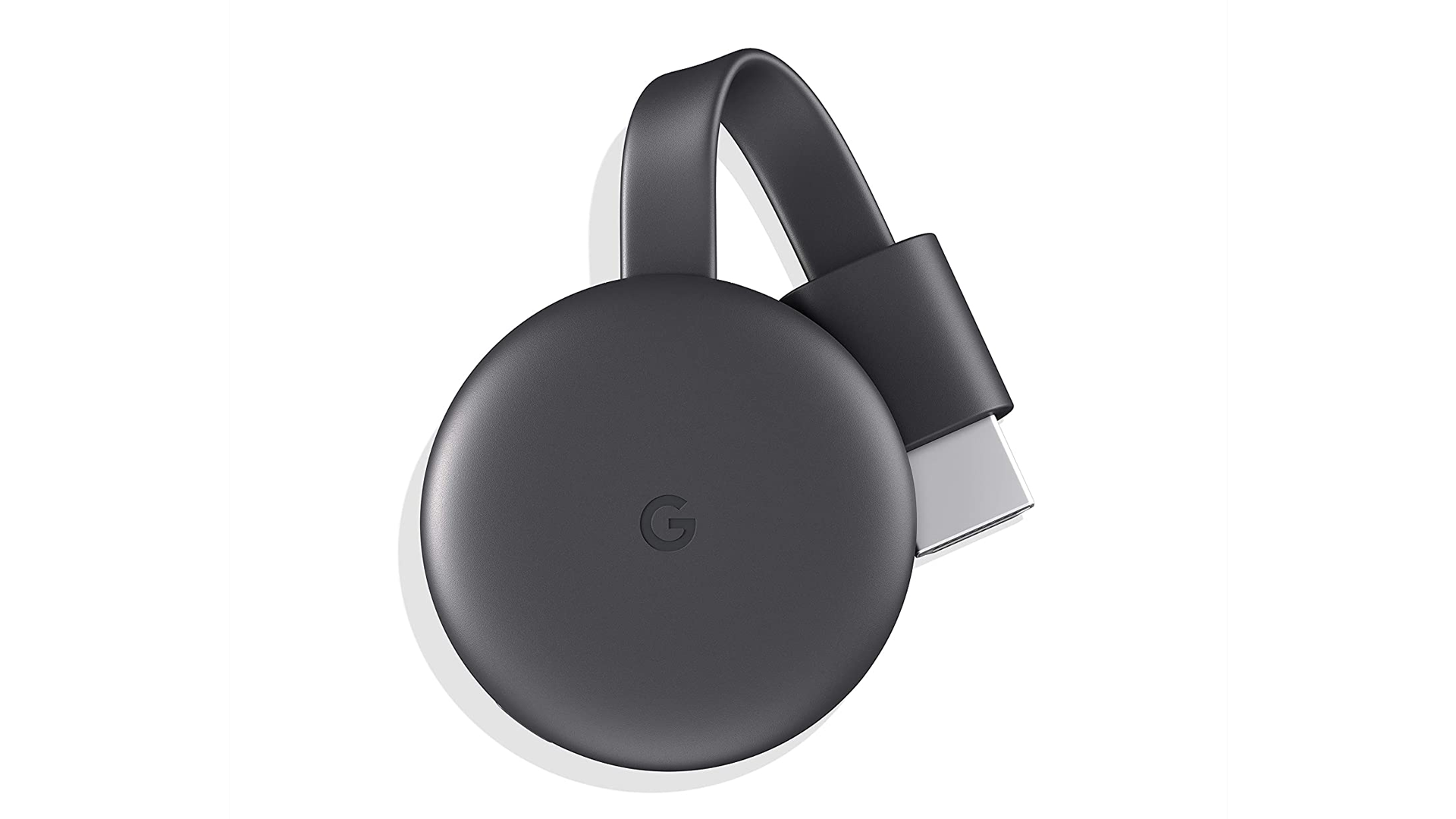 A photo of the Google Chromecast streaming dongle.