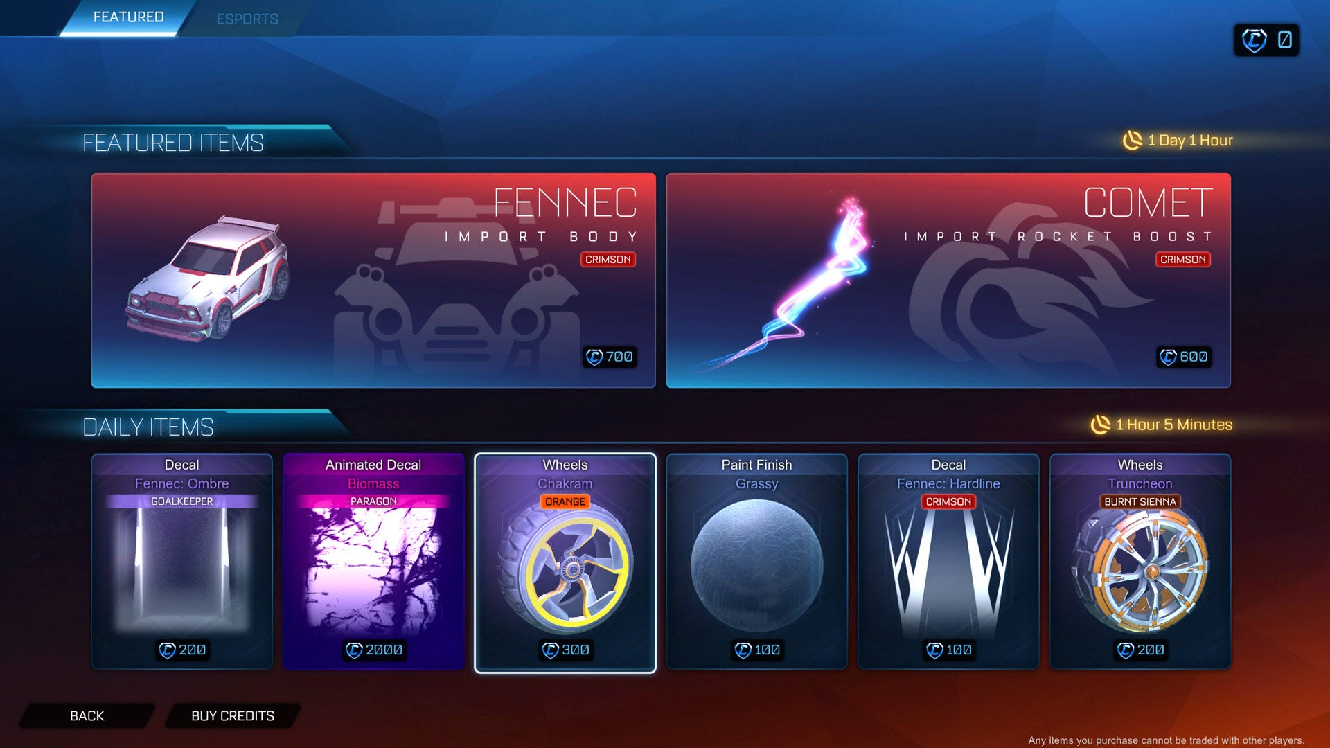 Rocket League cosmetic purchases.