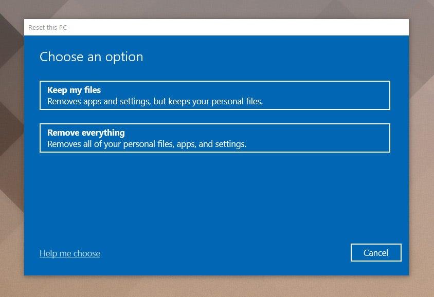 Windows reset settings dialog