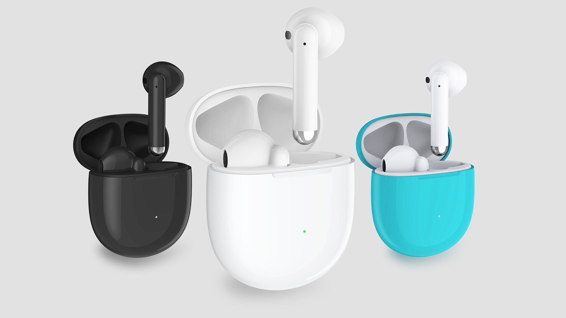 Three sets of true wireless earbuds in black, white, and teal.