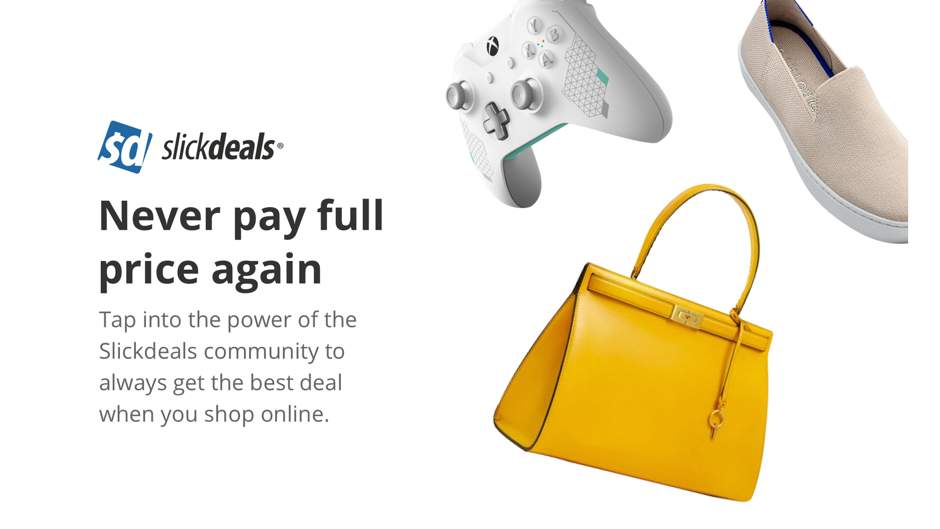 An illustration of Slickdeals saving money on video games, shoes, and handbags.
