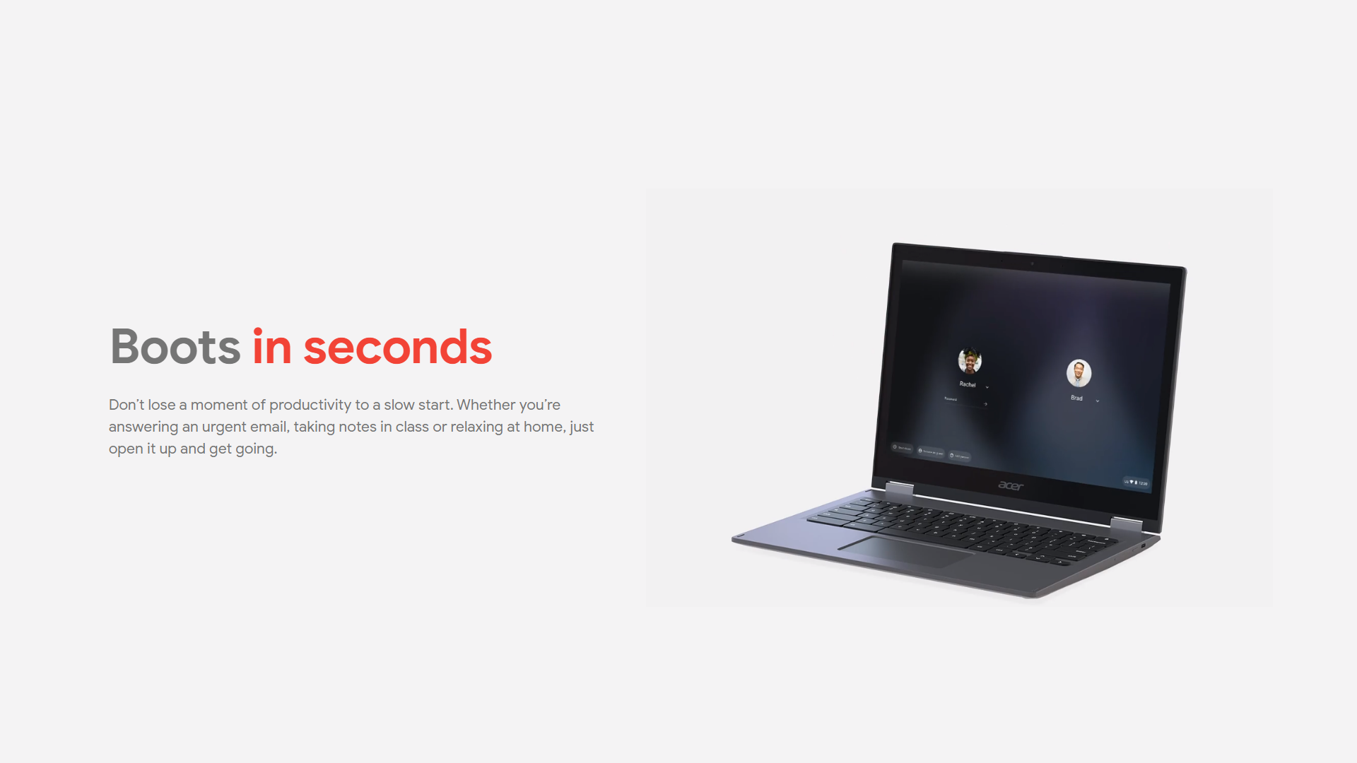 A promo image about Chromebooks booting up instantly