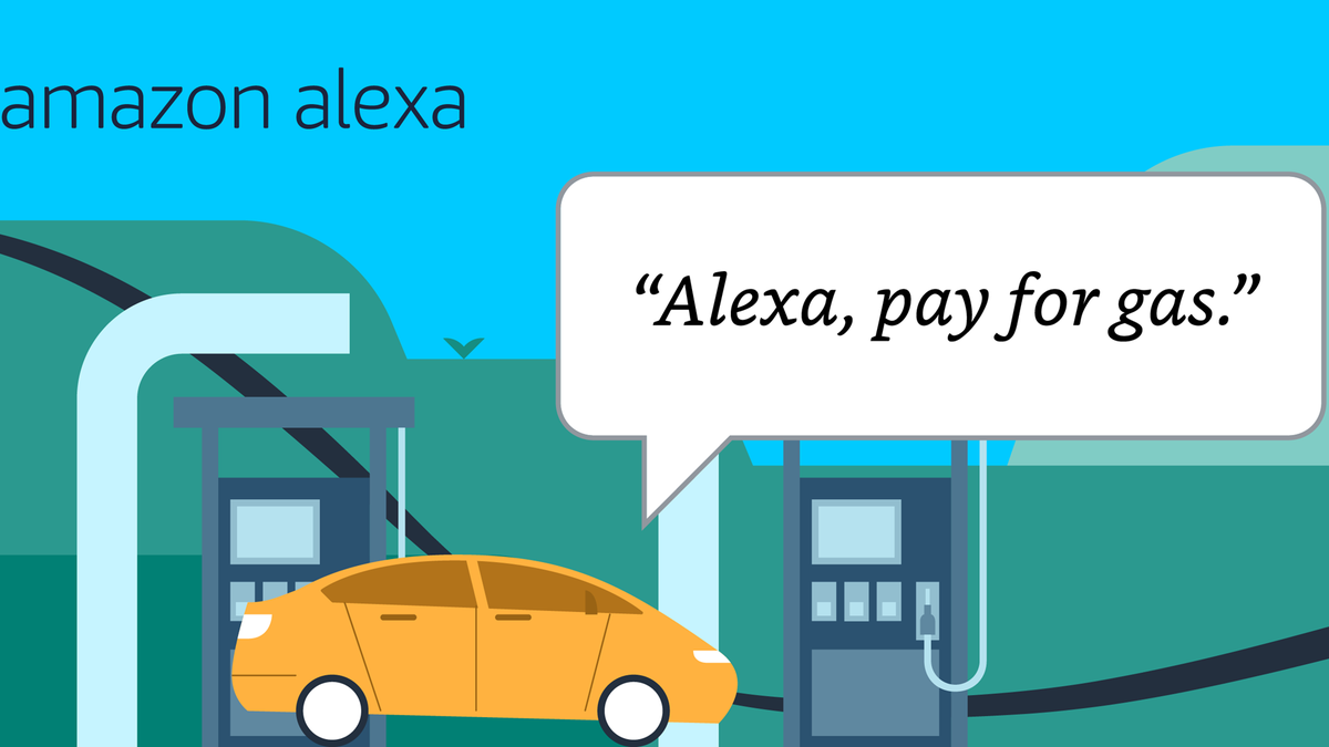 """A car at a gas station, and a person saying """"Alexa pay for gas."""""""