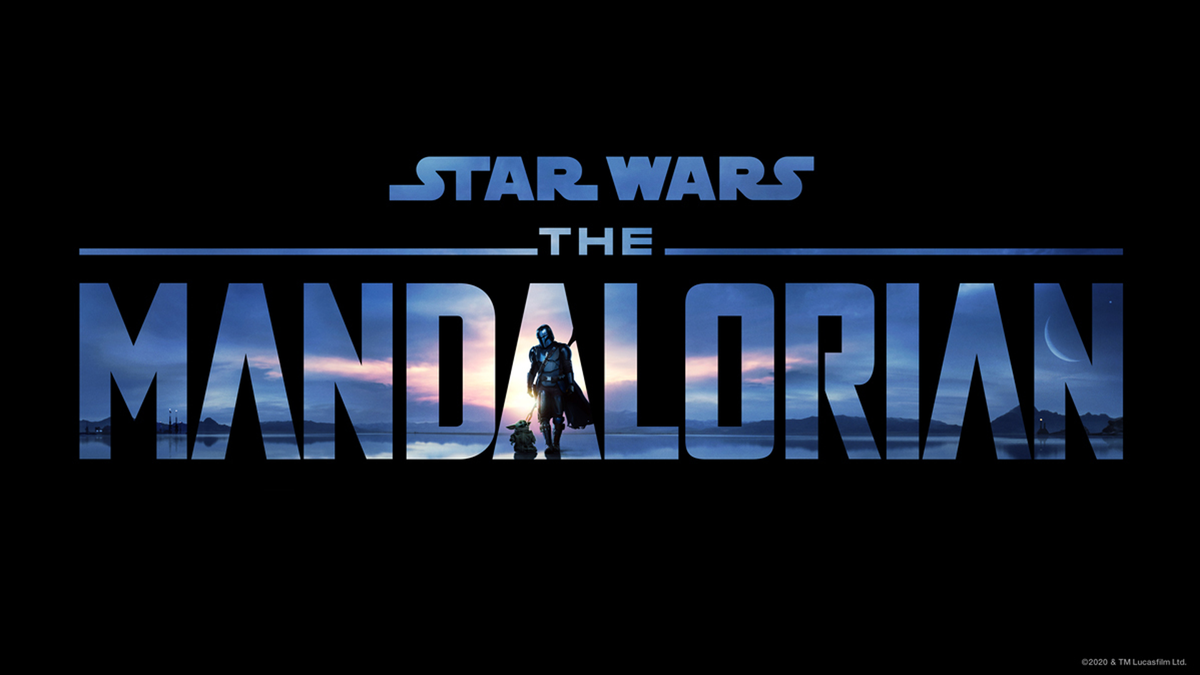 The Mandalorian logo against a black background