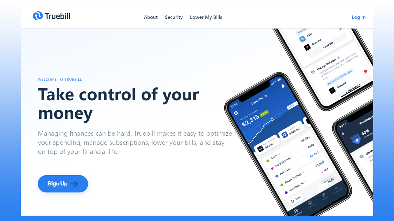 Truebill homepage, with photos of the app's features
