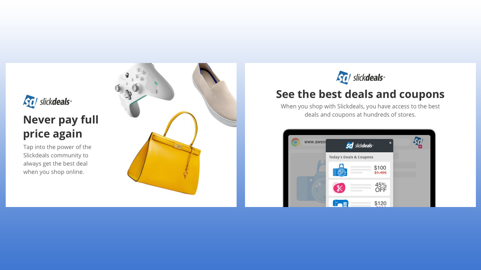SlickDeals Chrome browser extension showing good deals on products like clothing, games, and accessories