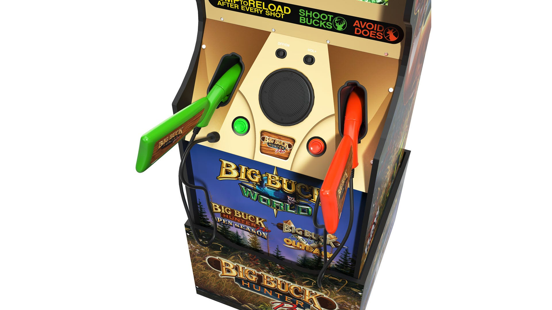 A closeup of the two guns included with 'Big Buck Hunter'