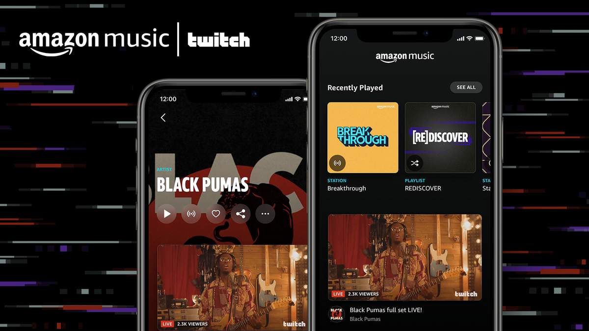 Twitch and Amazon Apps open on separate phones in front of a techy modern background