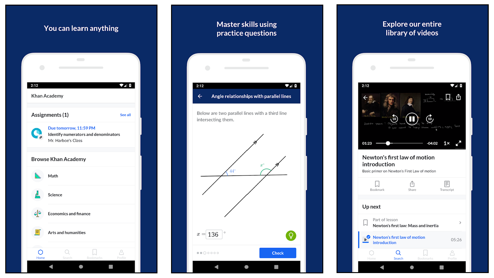 Khan Academy app for learning school courses online