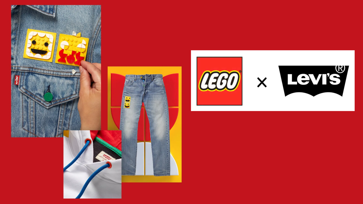 LEGO Group x Levi's clothing collaboration items and logo against a red background