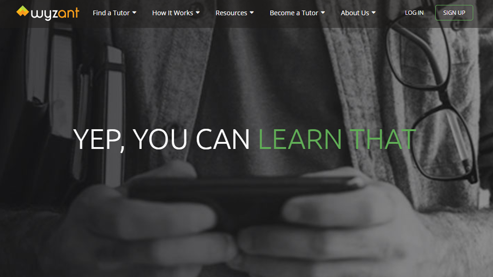 Wyzant home page with motivational quote and tutoring options