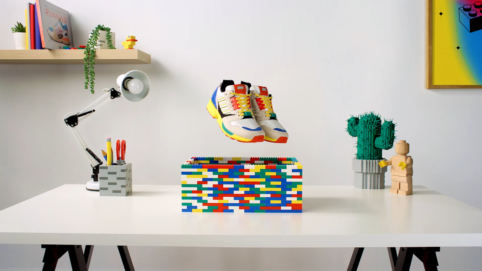LEGO Adidas ZX 8000 sneaker collaboration in a lego box on a desk