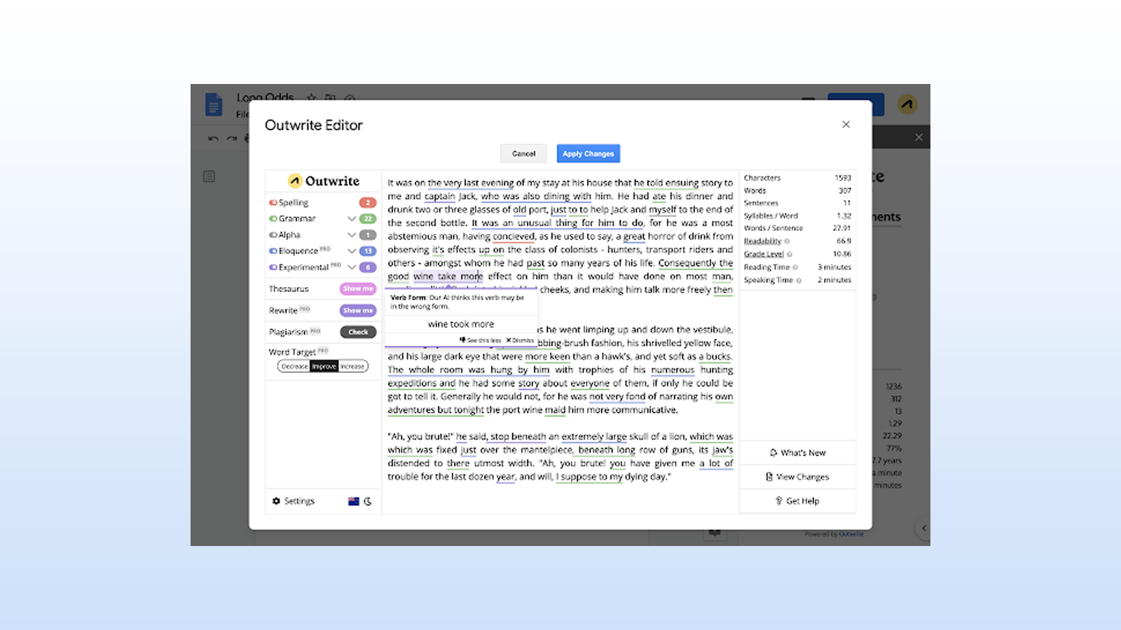 Outwrite add-on for checking spelling and grammar