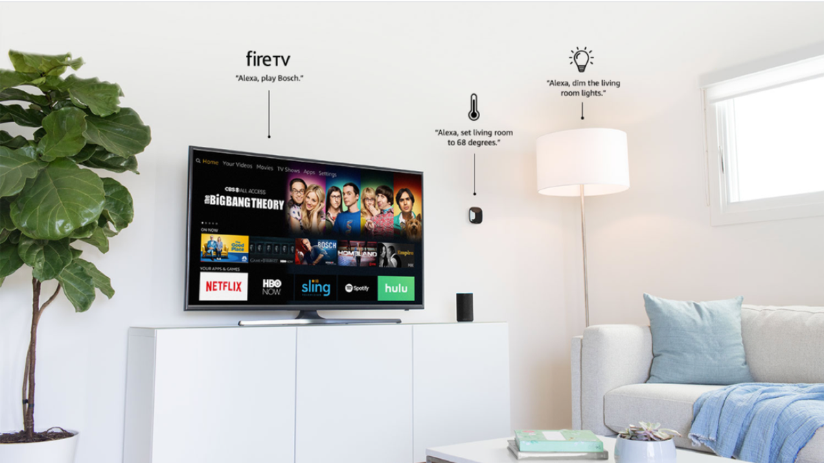An Amazon Fire TV, surrounded by an Ecobee and smart lights in an apartment setting.