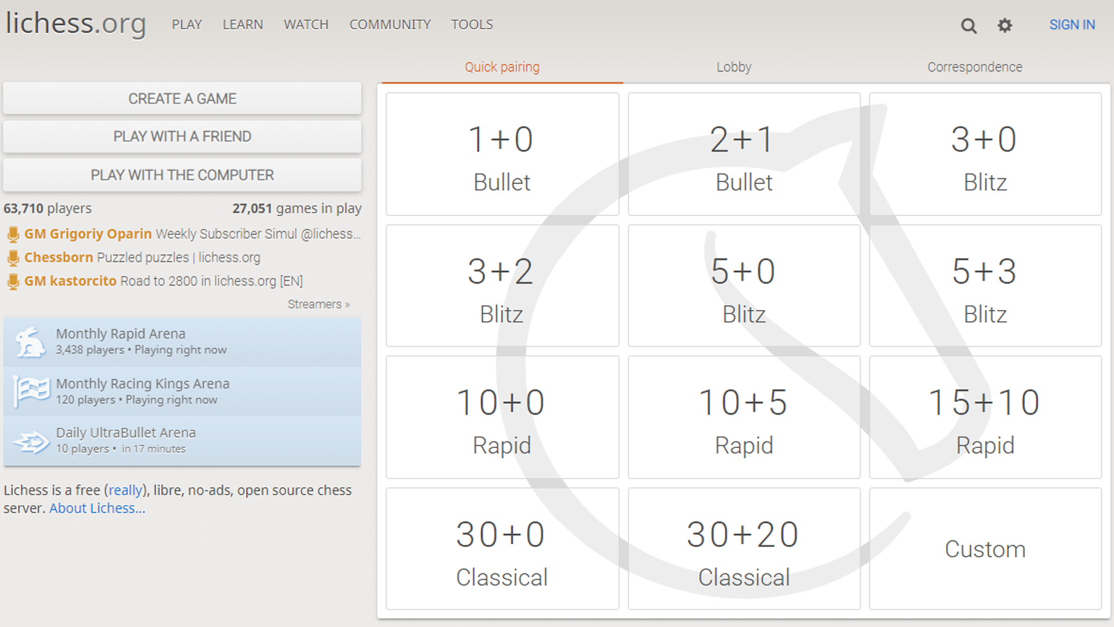 Lichess home page with blitz game options