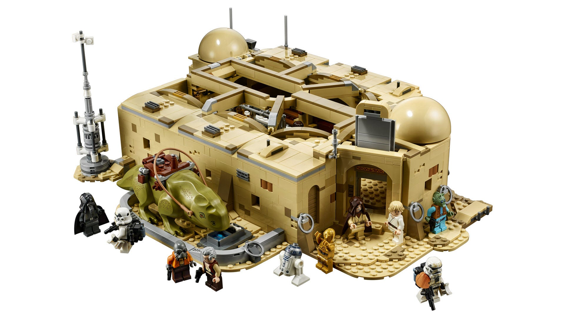 A closeup of the Mos Eisley Cantina, closed up with a DewDack next to it.