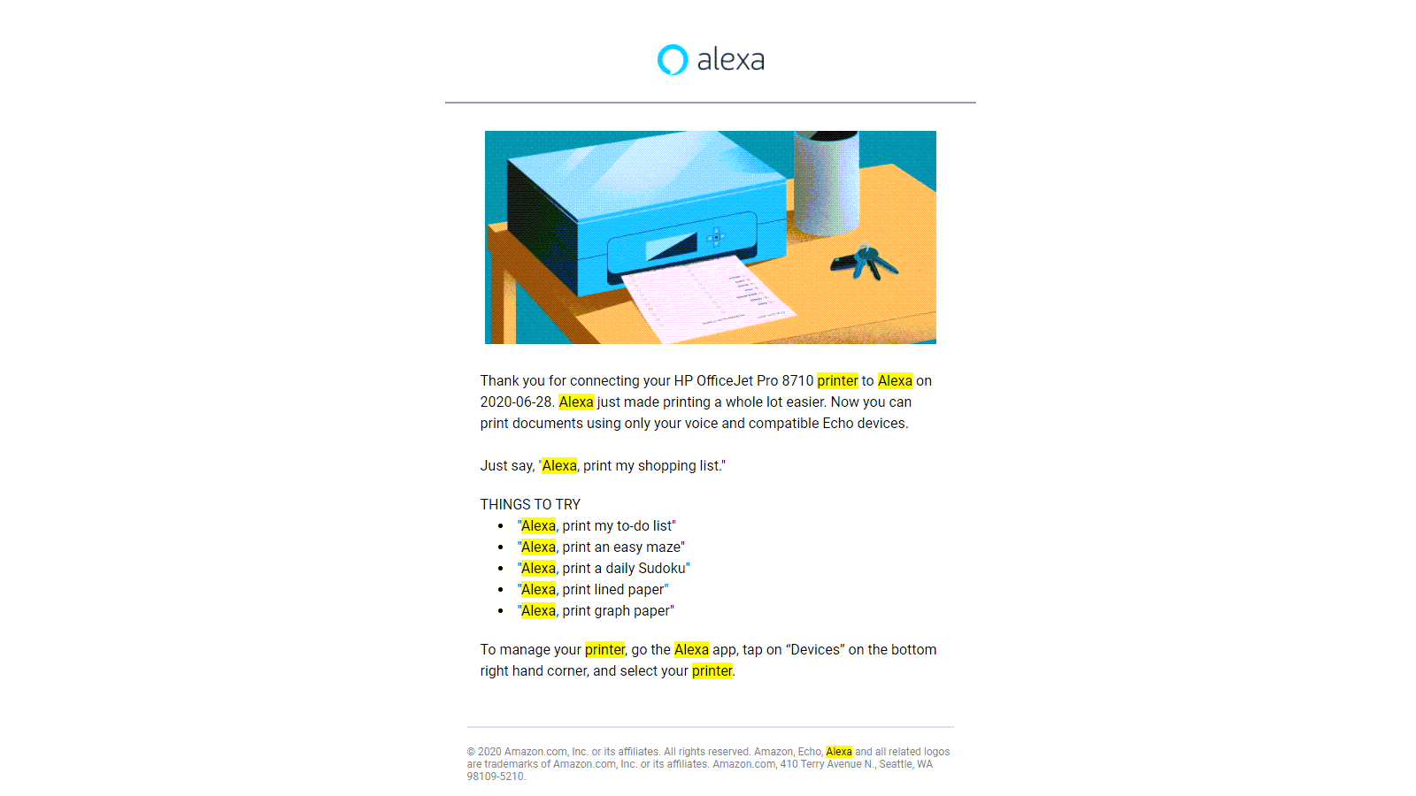 An email, thanking the user for connecting a printer to Alexa
