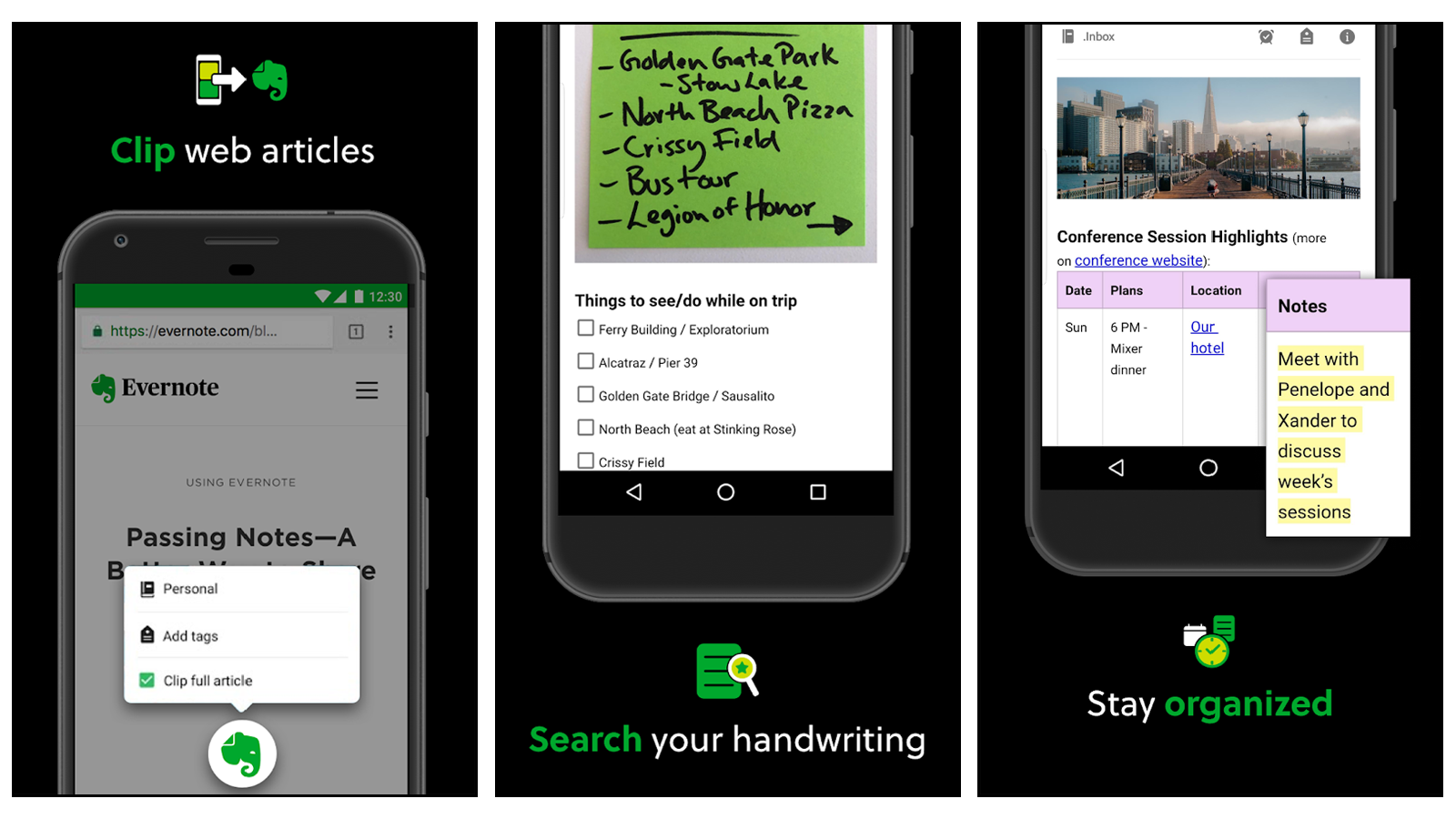 Evernote app for taking notes, or photographing and digitizing notes