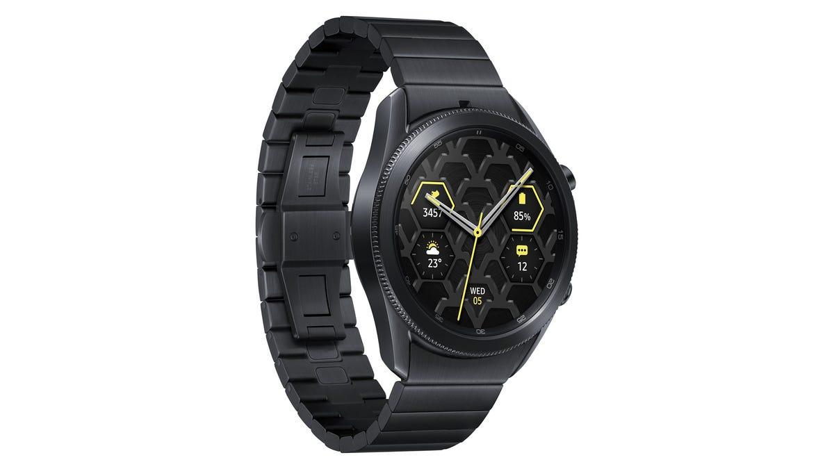A Samsung Galaxy Watch 3 in Titanium