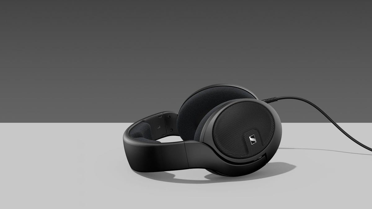 An open-backed set of Senheiser headphones.