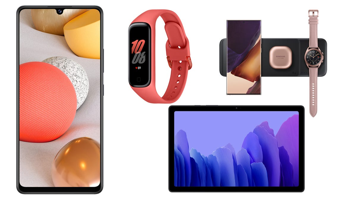 Samsung phone, tablet, wireless charger, and fitness tracker