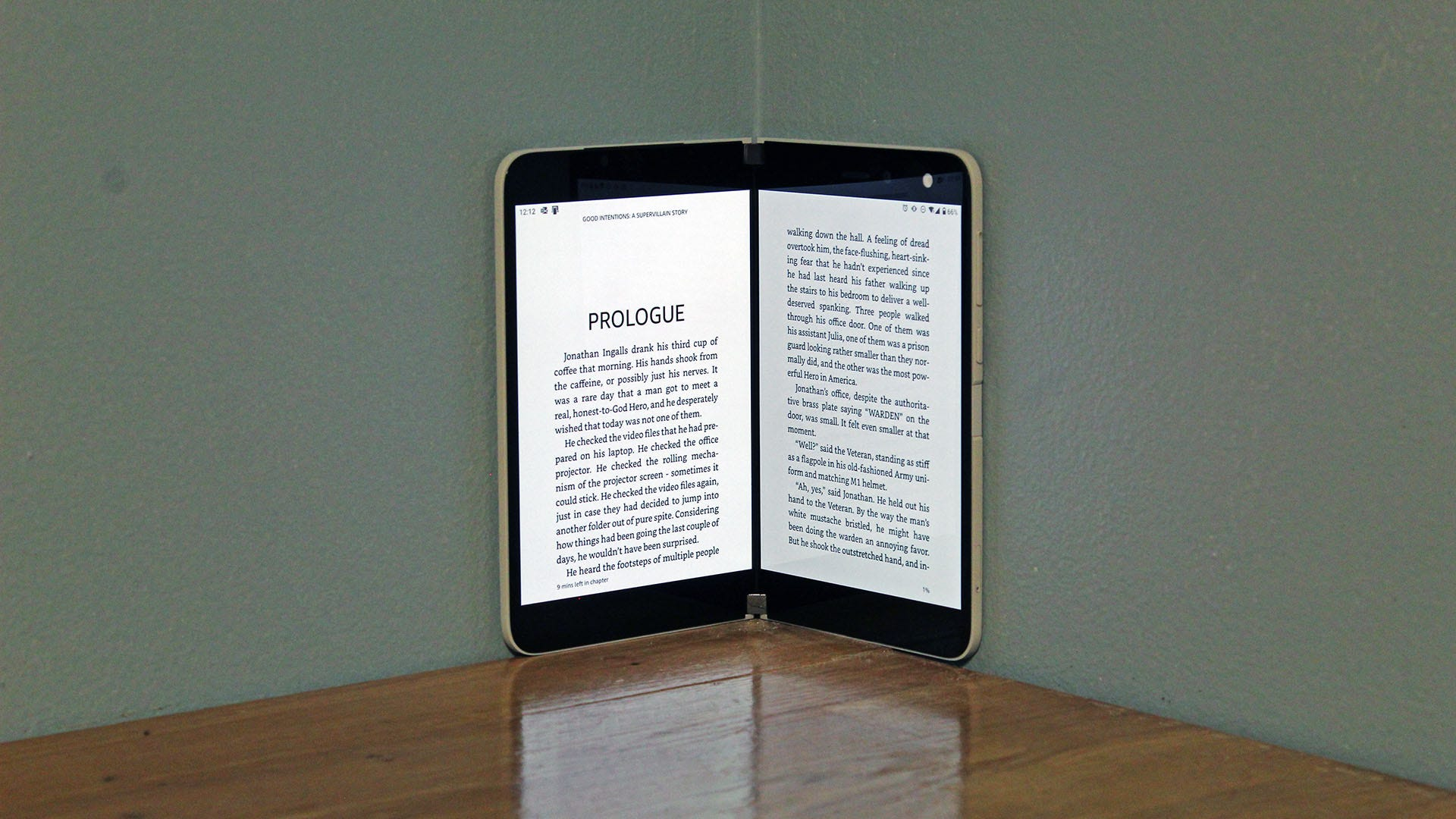 A Kindle app open on the Duo, a page on each display.