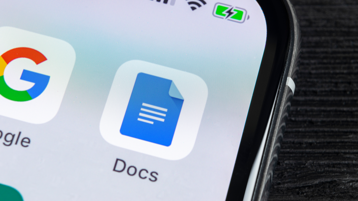 Google Docs app icon on Apple iPhone X screen close up