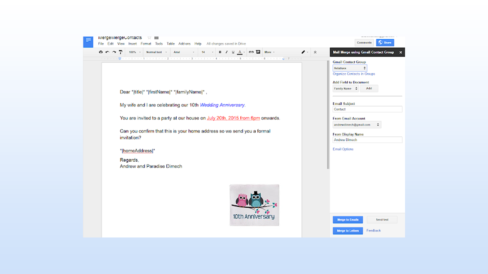 Mail Merge Contacts add-on for importing Google Contacts Groups