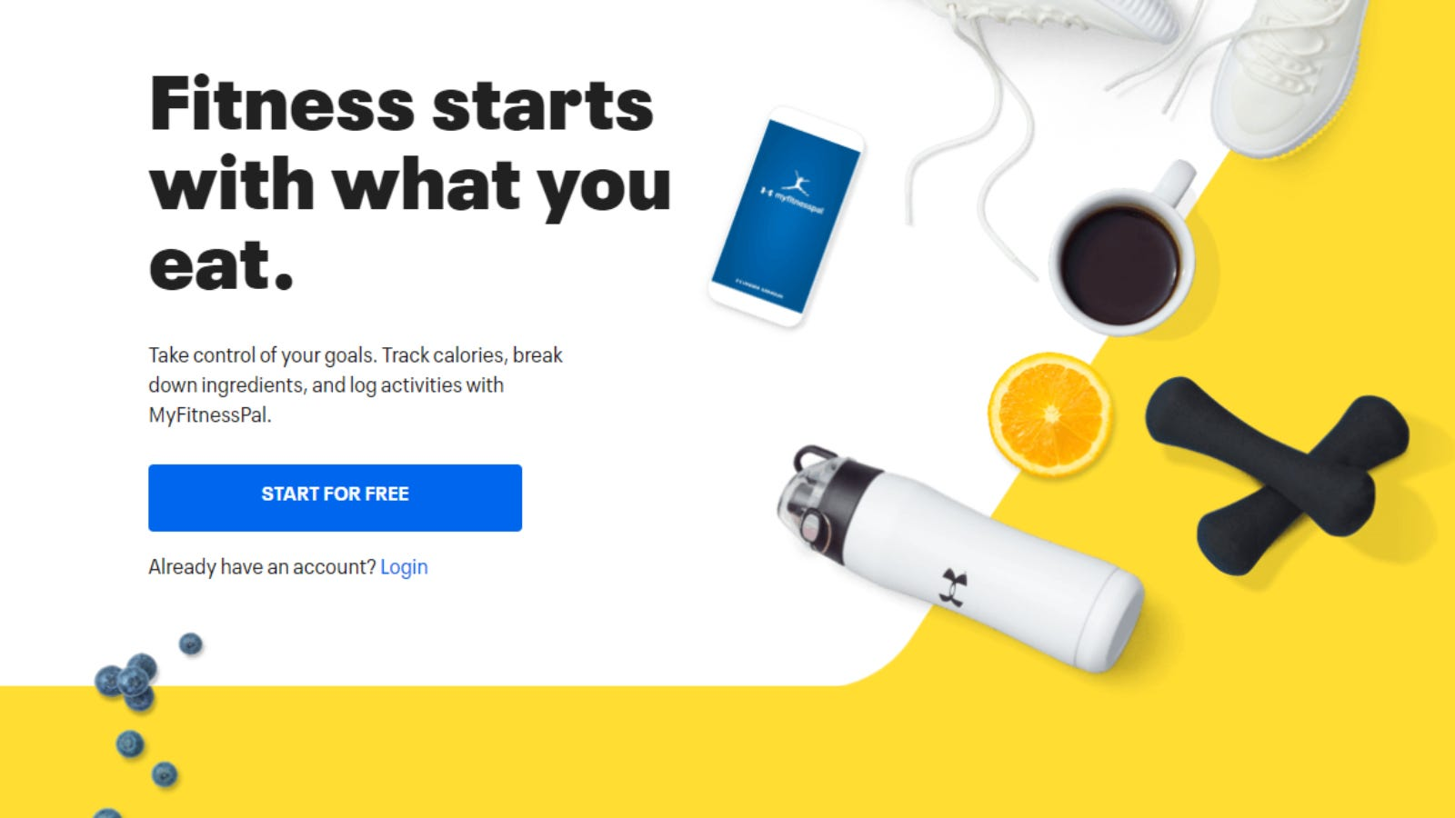 MyFitnessPal subscription homepage