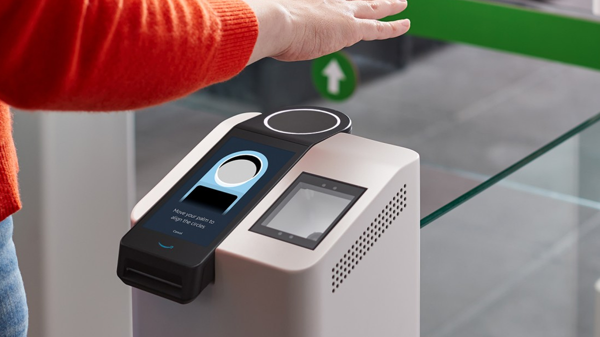 A photo of the Amazon One palm-reading contactless payment machine.