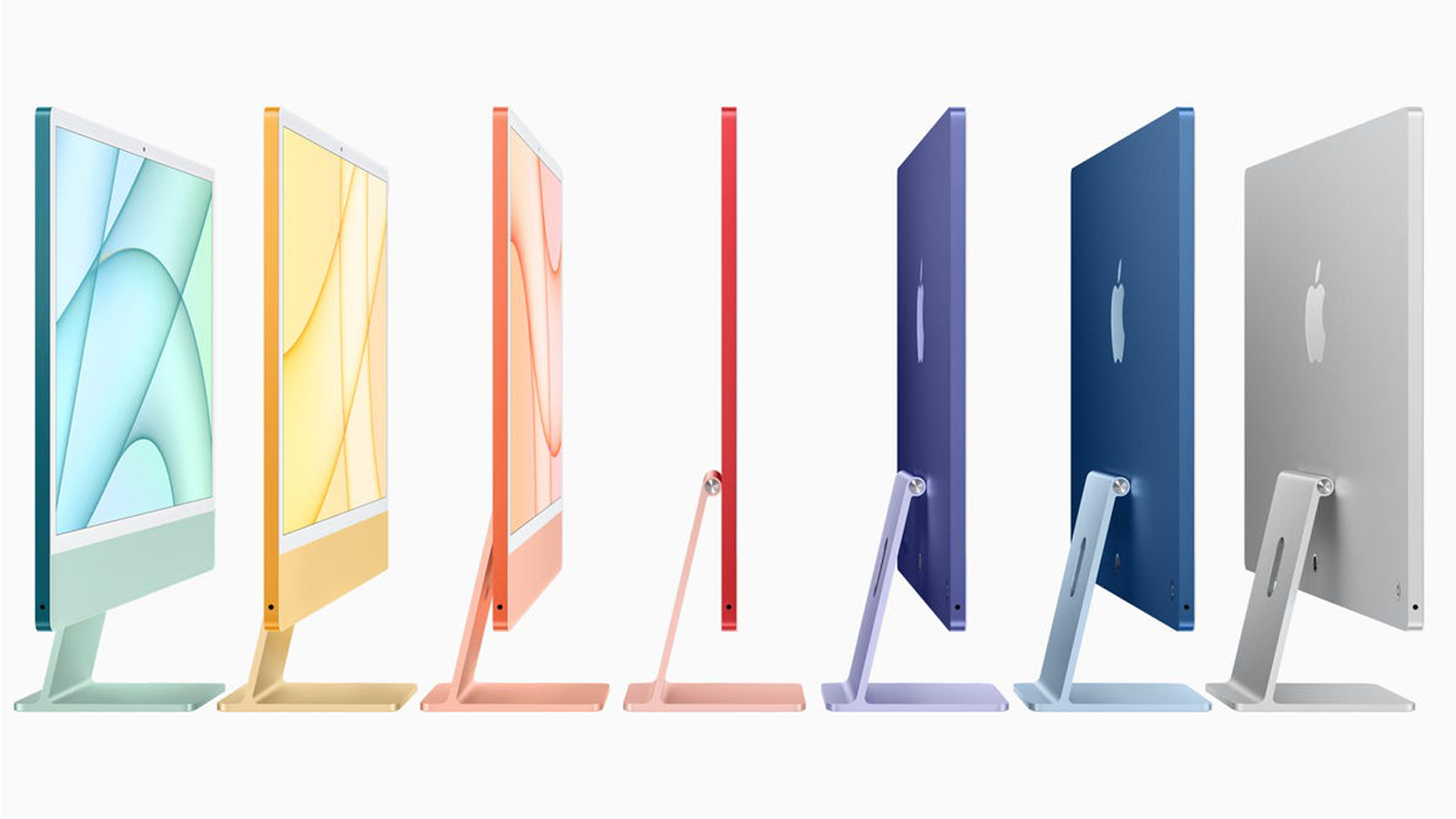 Seven of Apple's new iMacs in different colors lined up and viewed from the side