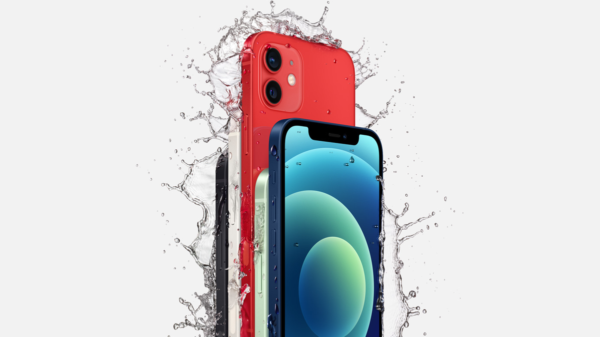 Assortmens of iPhones being splashed with water.