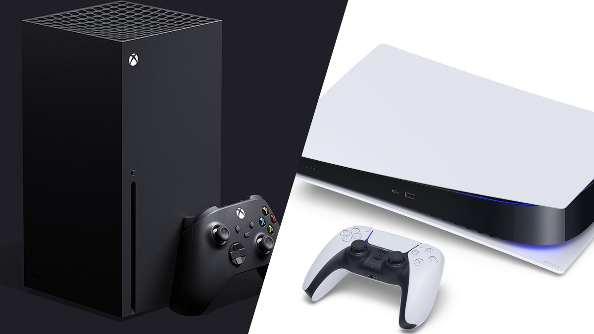 A photo of the Xbox Series X and the PlayStation 5