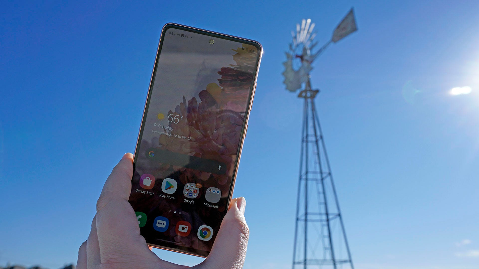 Galaxy S20 Fan Edition, with windmill in the background