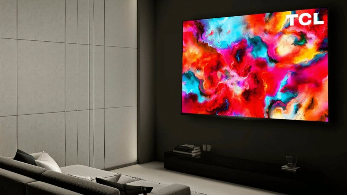 A 75-inch TV hung on a wall.