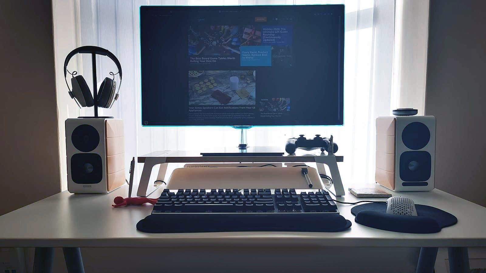 Speaker desk setup.