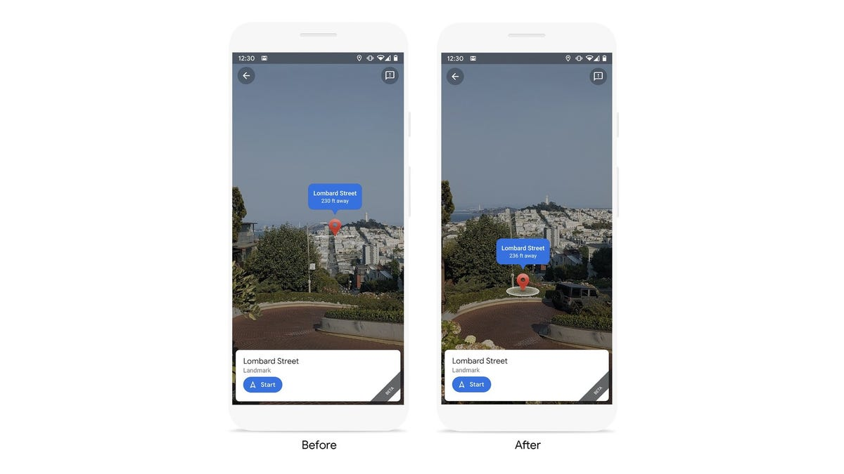 Google's more precise pin location in Live View