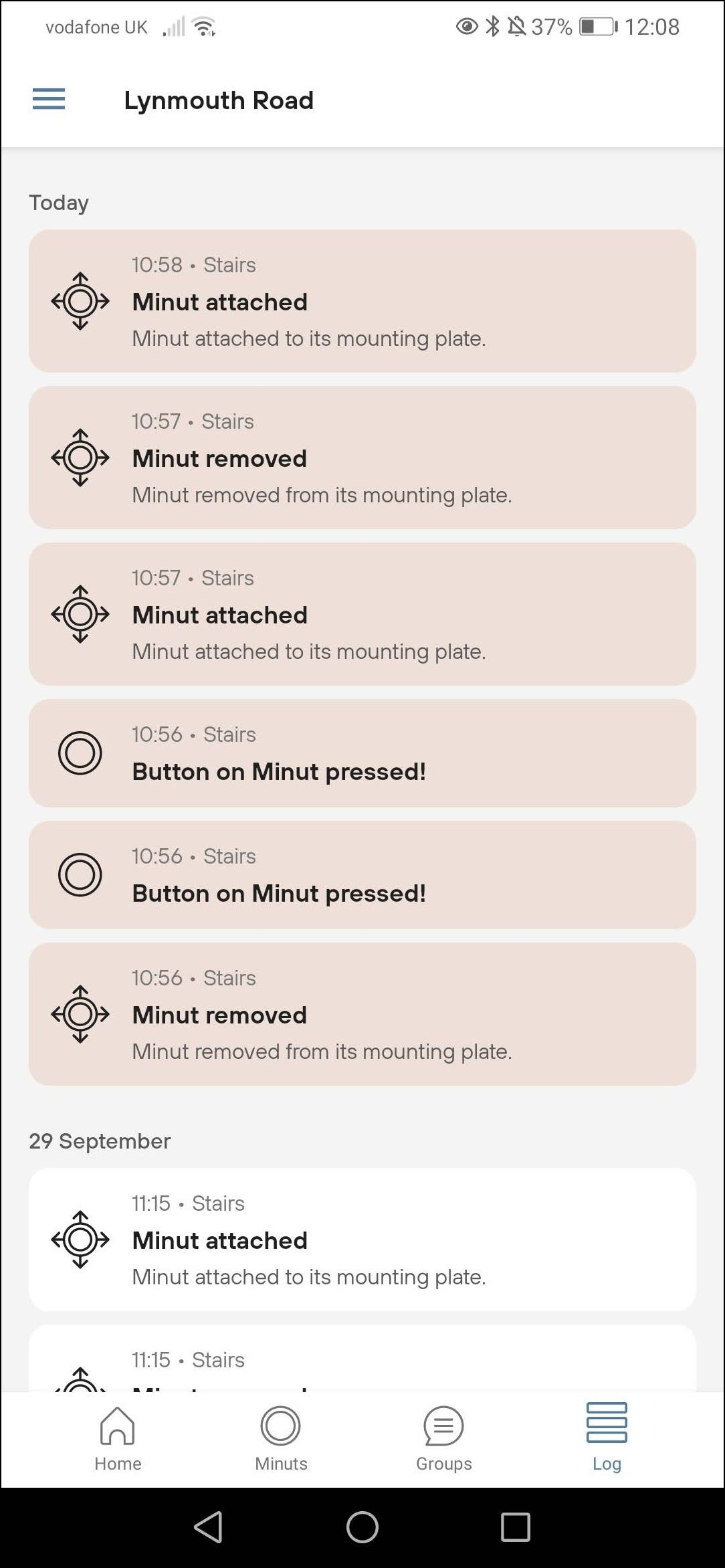 minut message log page